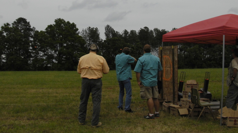 Doubles shootoff. Notice the two clays out front.