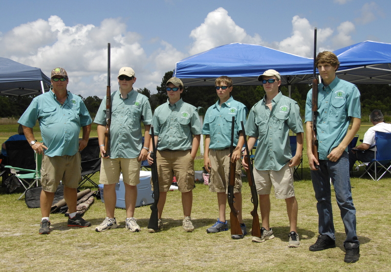 Senior 4-H Skeet and trap team that competed at the state contest in Savannah. Coach Tommy Hunter, Sawyer Meadows, Alex Whitaker, Josh Croom, Logan Shattles, Jesse Ethredge.
