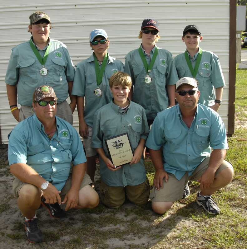 Junior 4-H Skeet and Trap team that placed 8th in the state at the Savannah Competition. Front, Coach Tommy Hunter, Harrison Hall, Coach Steve Whittaker. Back row Carson O'Brian, Lane Williams, Ethan Scarborough ,Carter Ross.