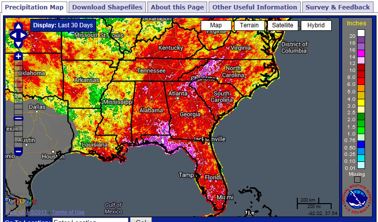 Here's the accumulated rainfall for the past 30 days.