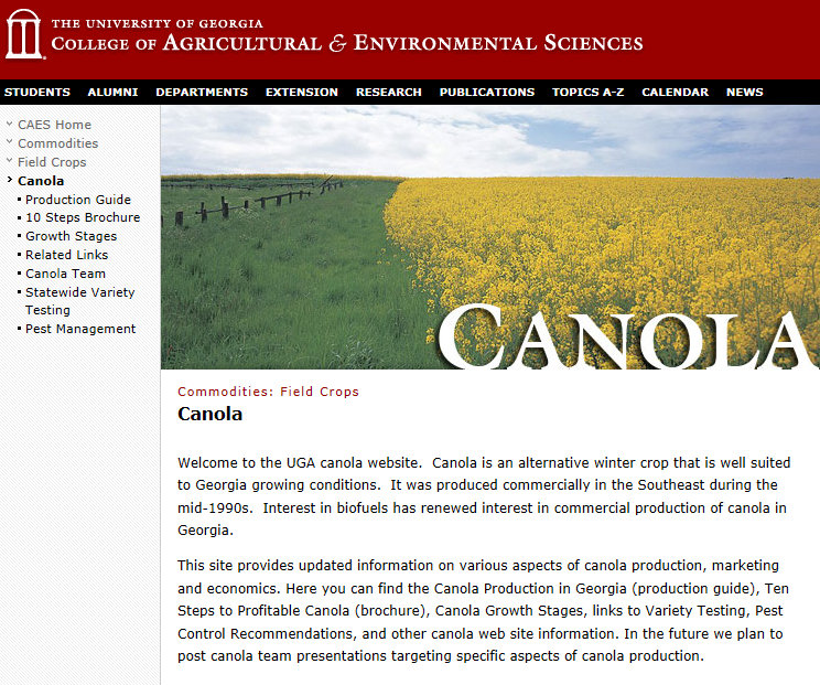 Canola  Commodities at CAES  UGA - Internet Explorer 1292014 13612 PM